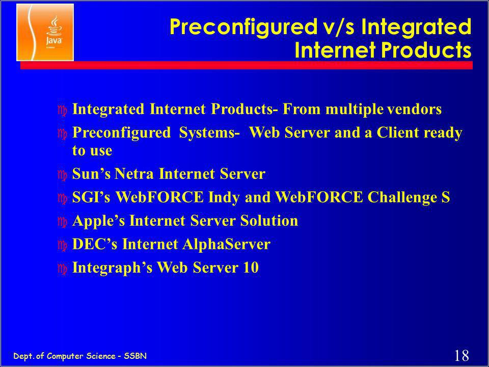 Preconfigured v/s Integrated Internet Products
