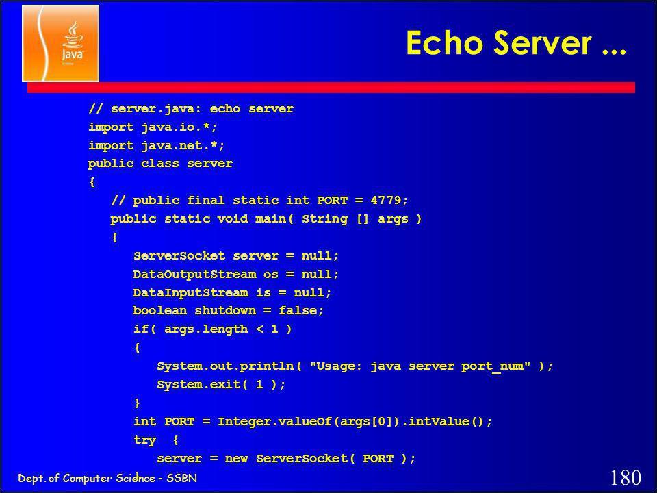 Echo Server ... // server.java: echo server import java.io.*;