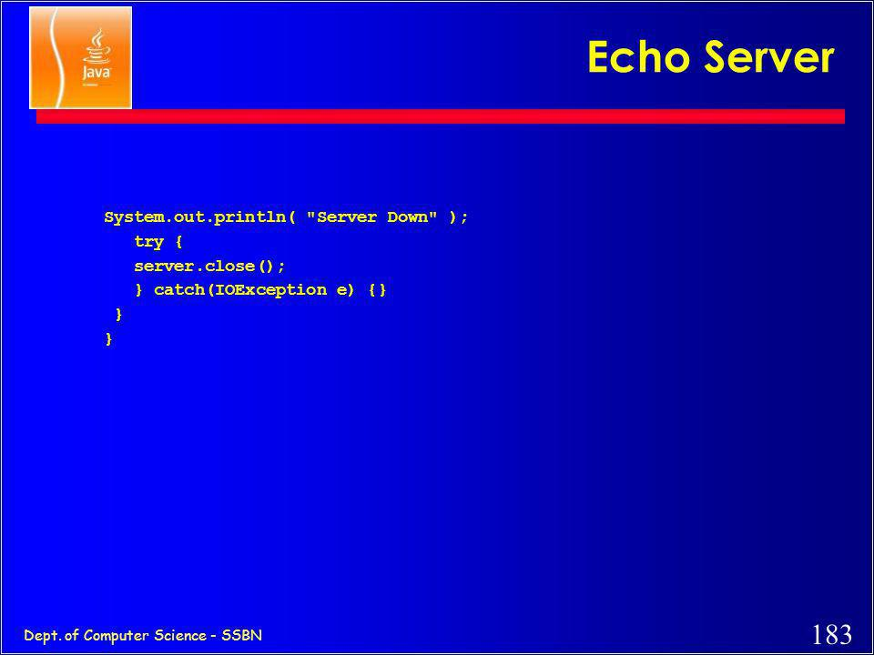 Echo Server System.out.println( Server Down ); try { server.close();