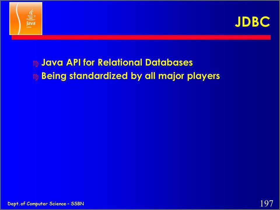 JDBC Java API for Relational Databases