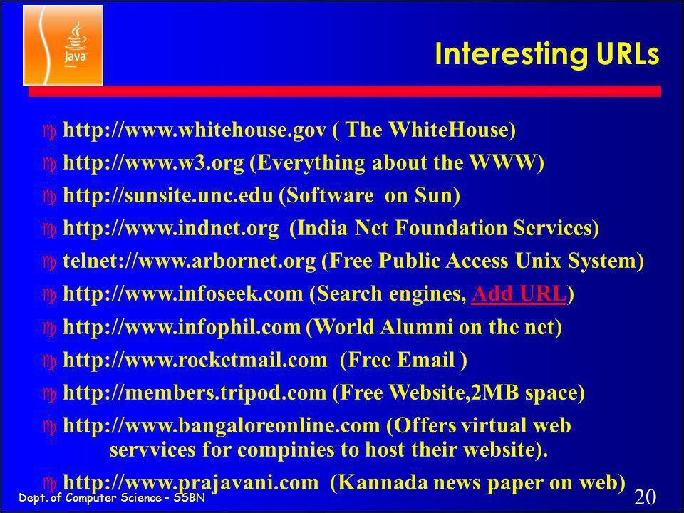 Interesting URLs http://www.whitehouse.gov ( The WhiteHouse)