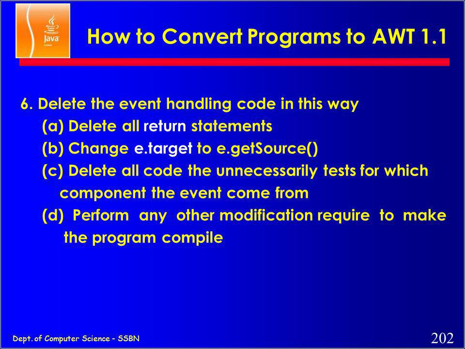 How to Convert Programs to AWT 1.1