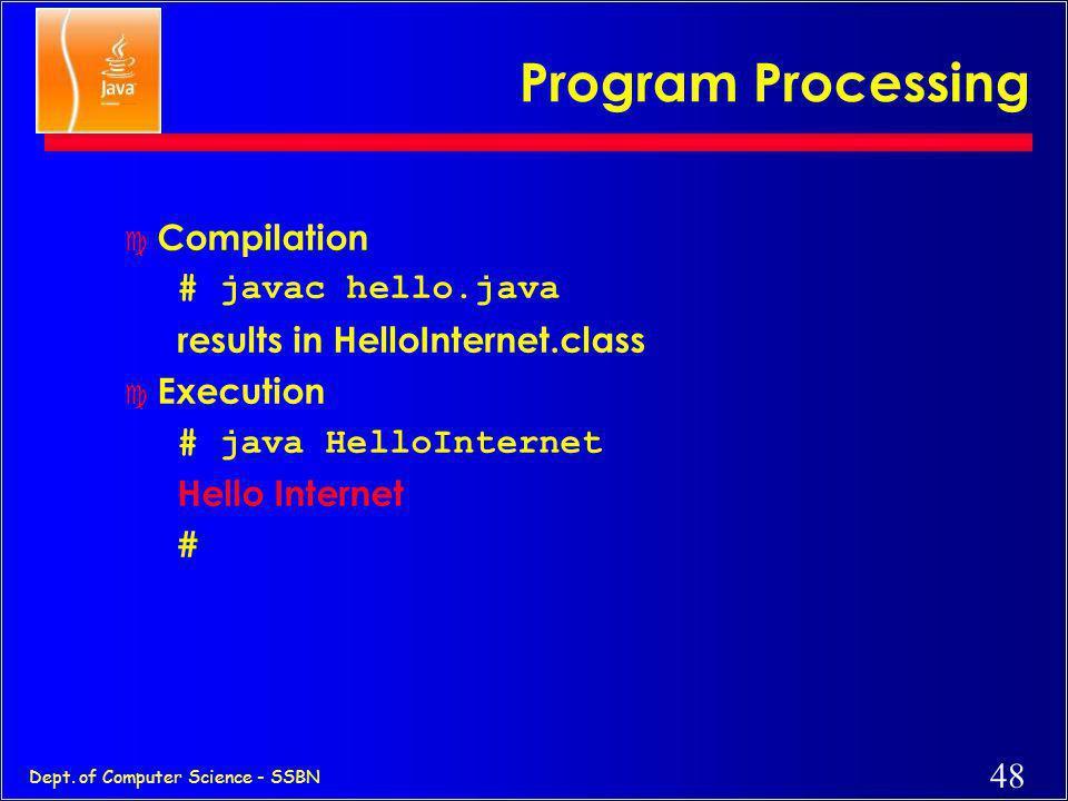 Program Processing Compilation # javac hello.java