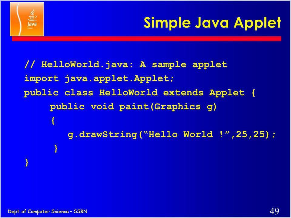 Simple Java Applet // HelloWorld.java: A sample applet
