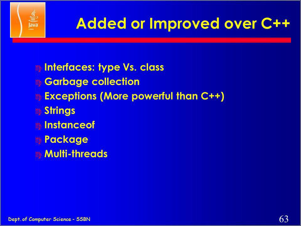 Added or Improved over C++