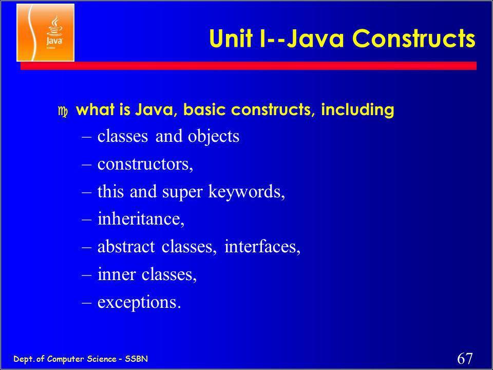 Unit I--Java Constructs
