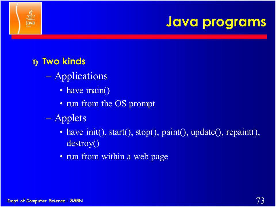 Java programs Applications Applets Two kinds have main()
