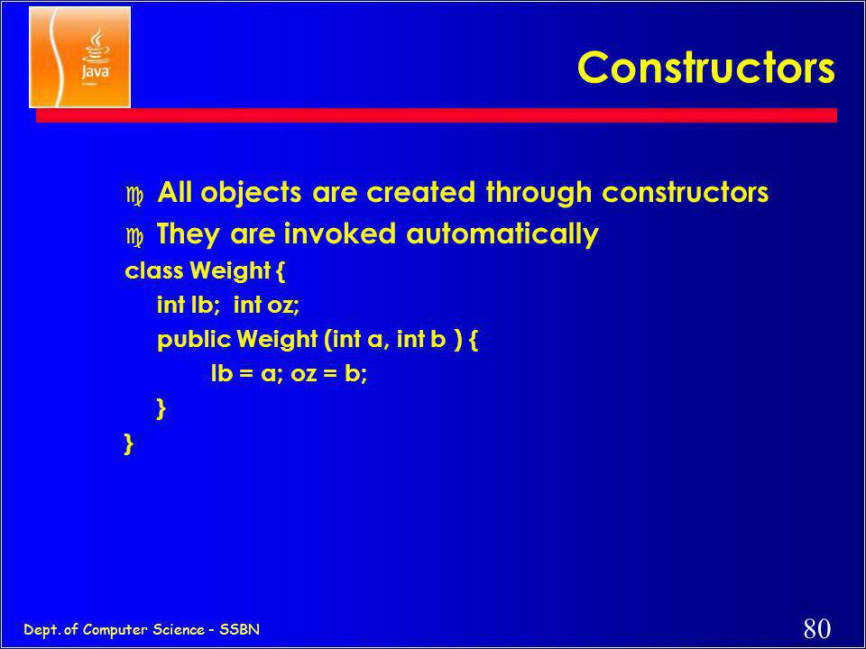 Constructors All objects are created through constructors