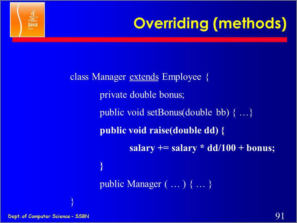 Overriding (methods) class Manager extends Employee {