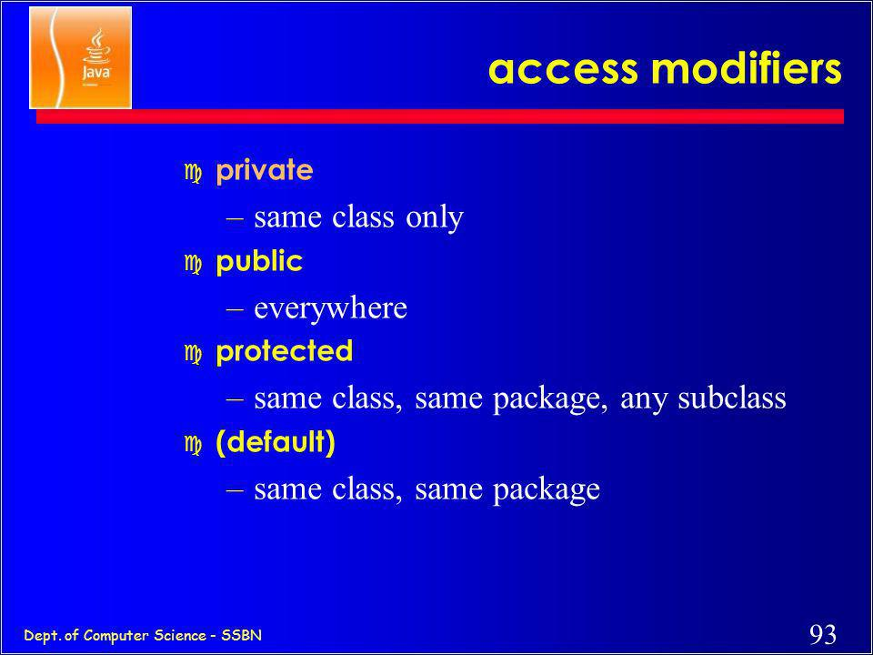 access modifiers same class only everywhere