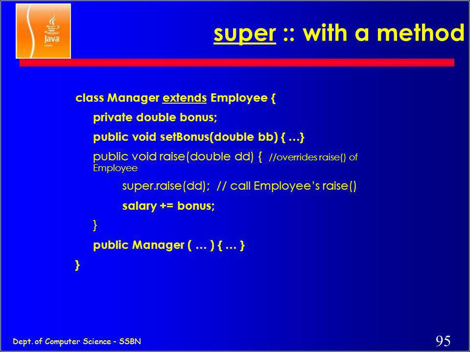 super :: with a method class Manager extends Employee {