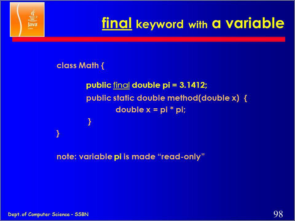 final keyword with a variable