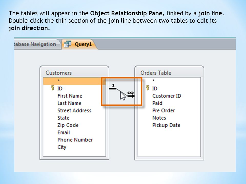 The tables will appear in the Object Relationship Pane, linked by a join line.