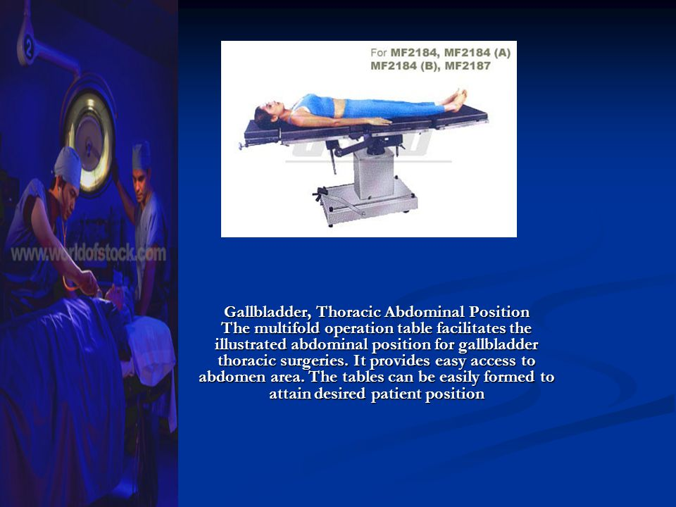Gallbladder, Thoracic Abdominal Position The multifold operation table facilitates the illustrated abdominal position for gallbladder thoracic surgeries.
