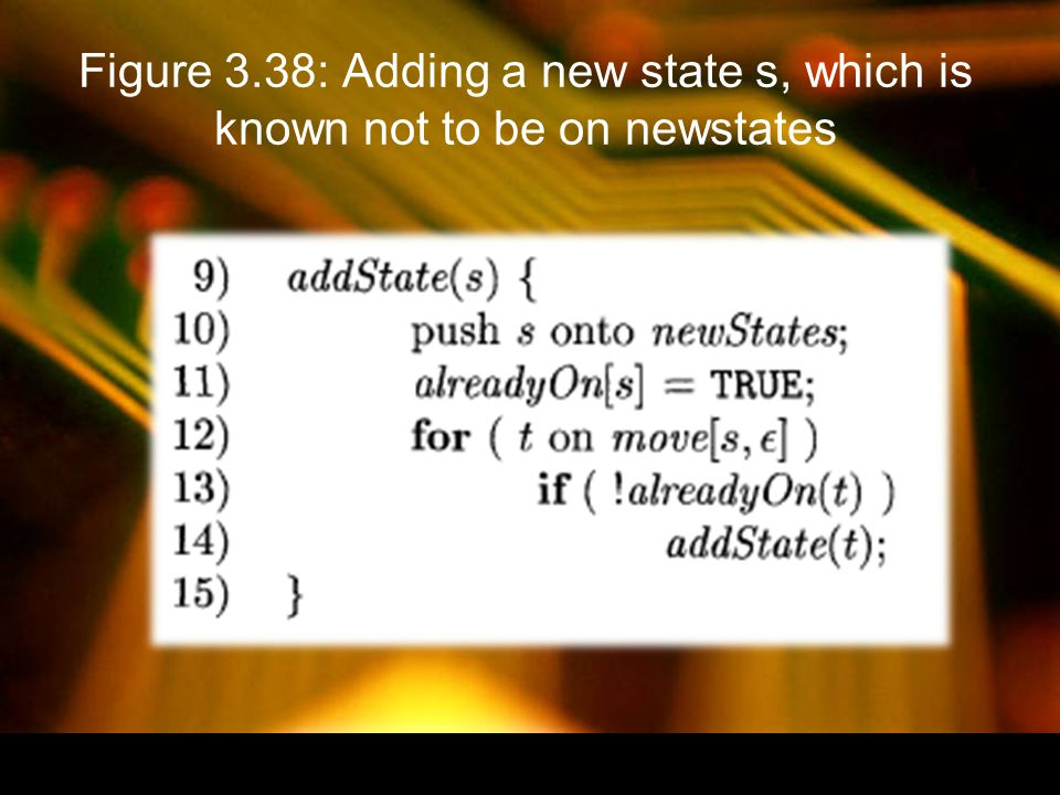 Figure 3.38: Adding a new state s, which is known not to be on newstates