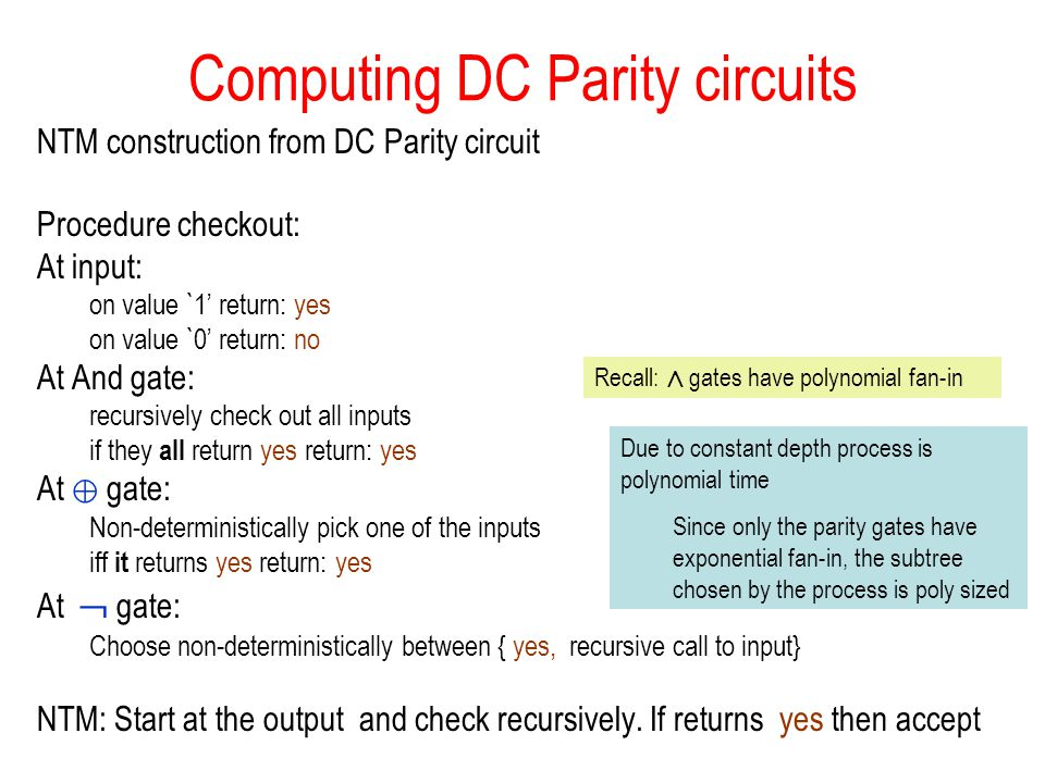 Computing DC Parity circuits