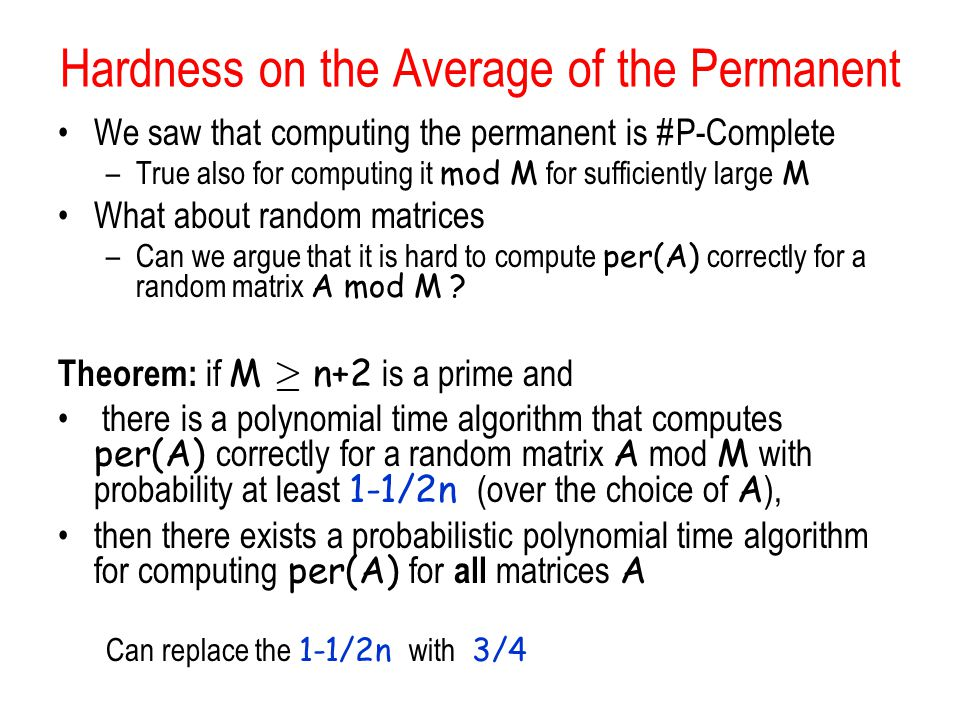 Hardness on the Average of the Permanent