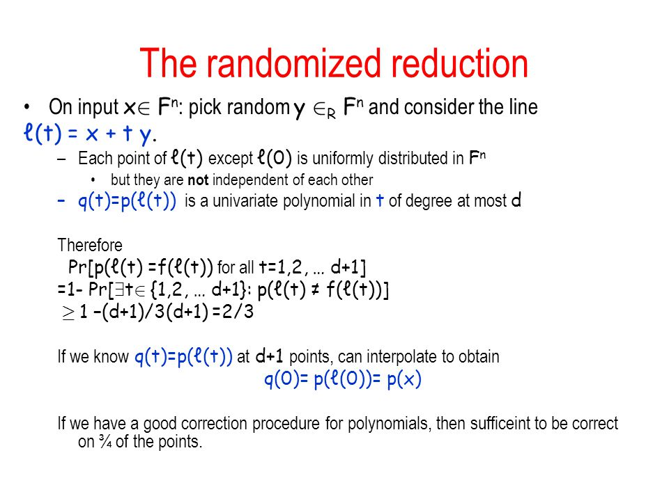 The randomized reduction