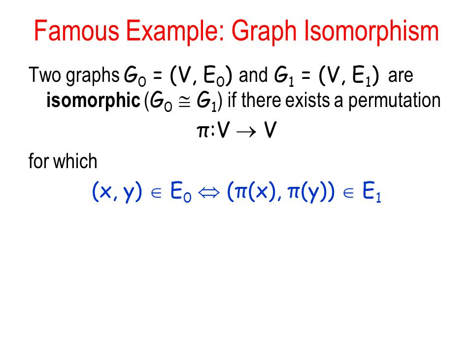 Famous Example: Graph Isomorphism