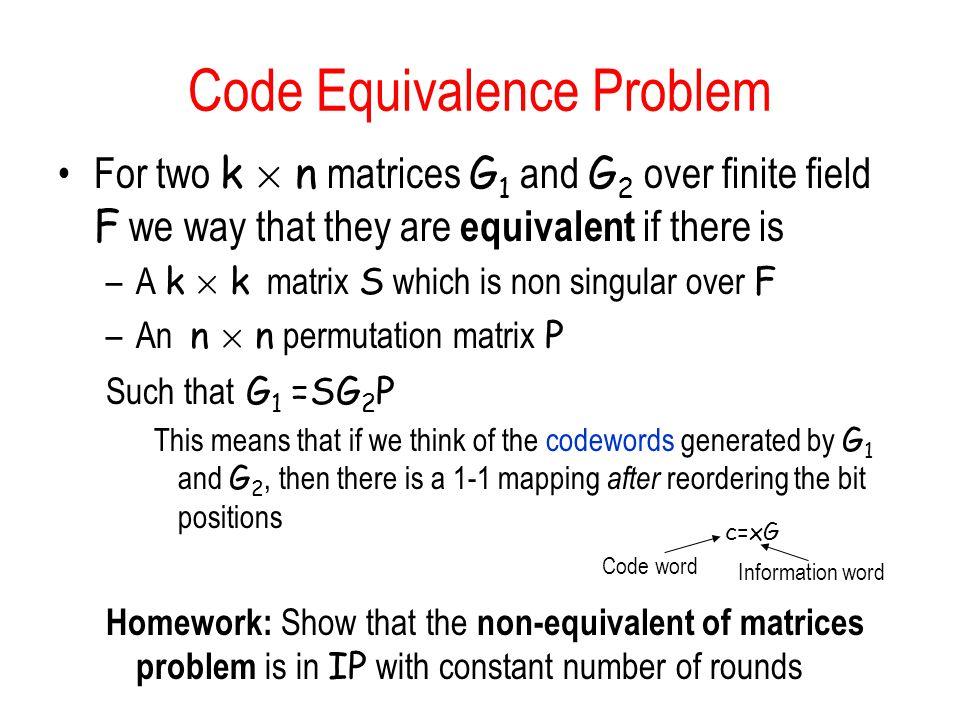 Code Equivalence Problem