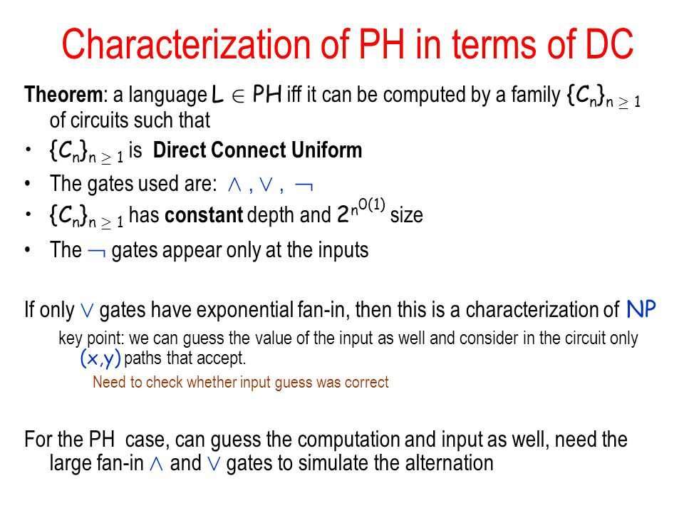 Characterization of PH in terms of DC
