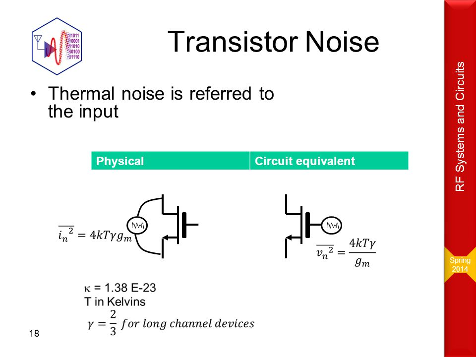 Transistor Noise Thermal noise is referred to the input