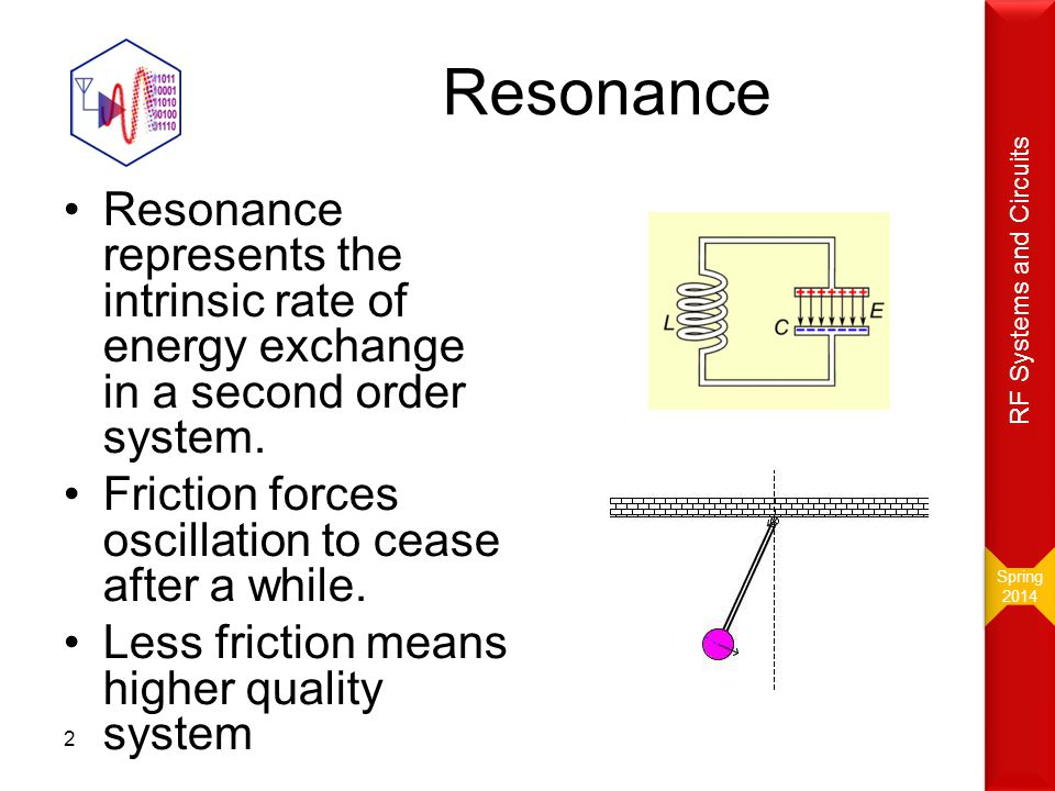 Spring RF Systems and Circuits. Resonance. Resonance represents the intrinsic rate of energy exchange in a second order system.