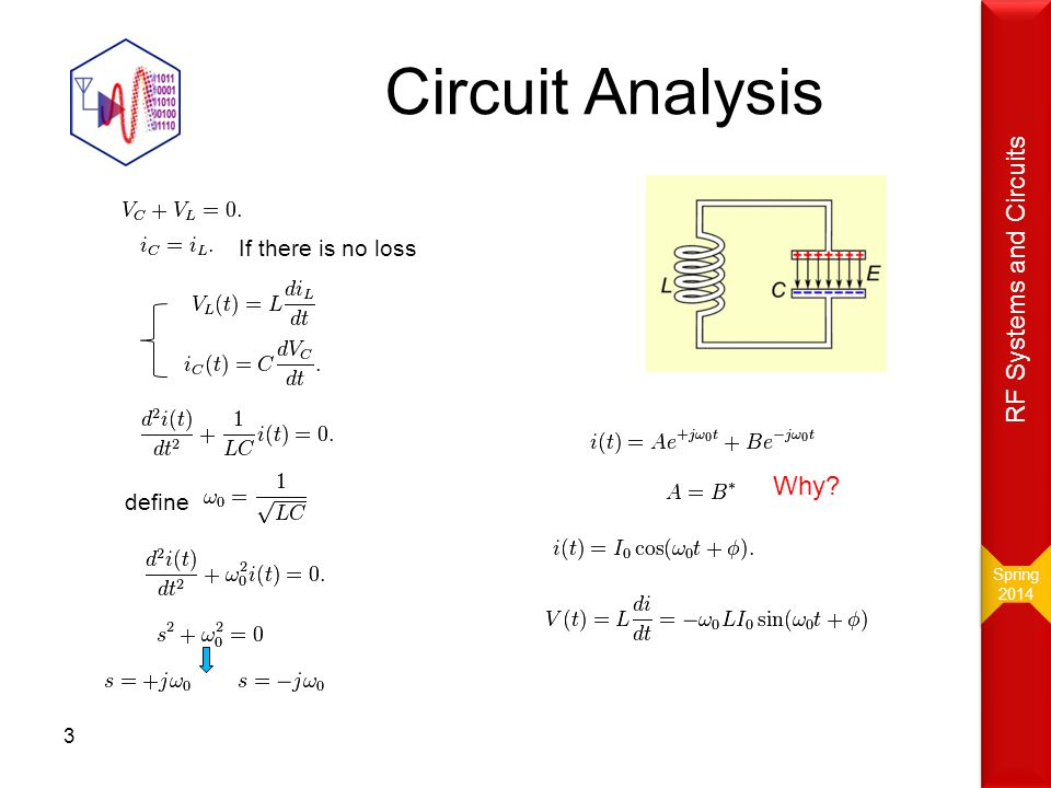 Circuit Analysis RF Systems and Circuits Why If there is no loss