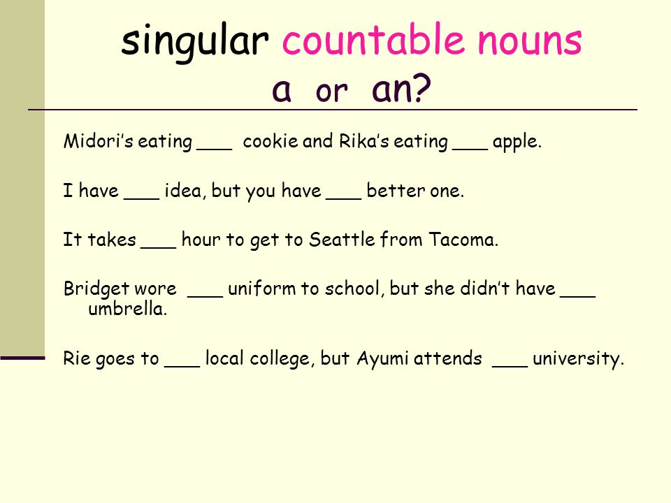 singular countable nouns a or an