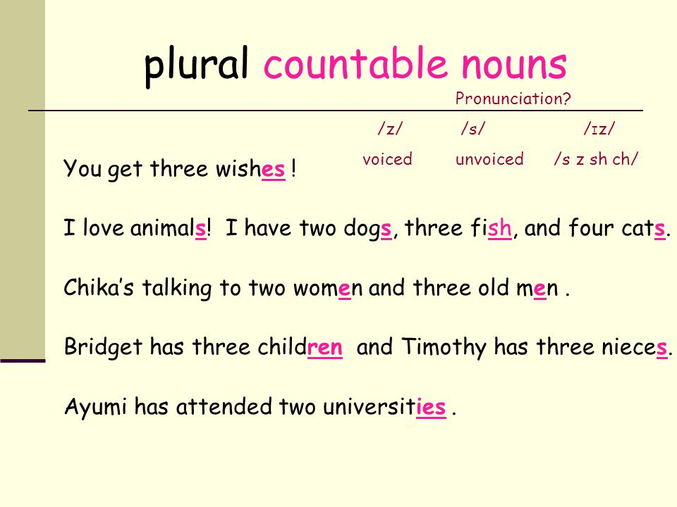 plural countable nouns