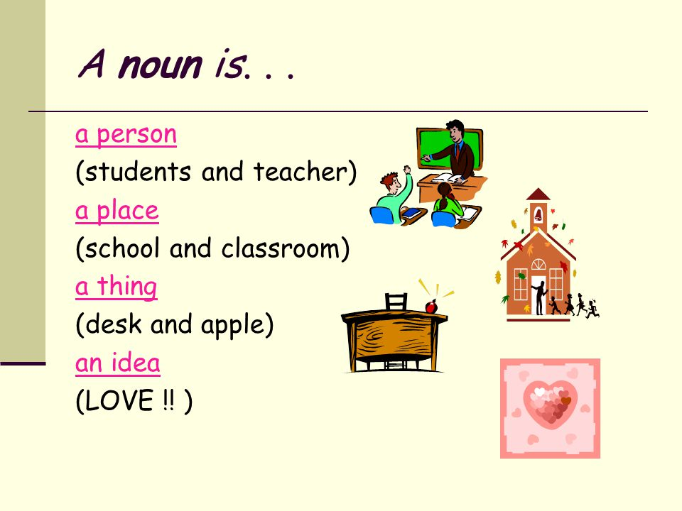 A noun is. . . a person (students and teacher) a place