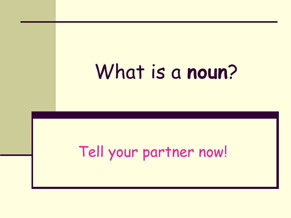 What is a noun Tell your partner now!