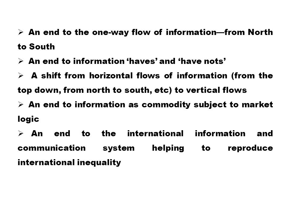 An end to the one-way flow of information—from North to South
