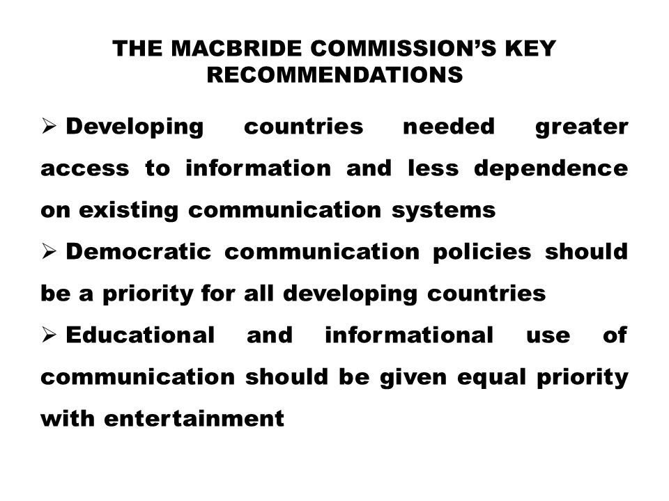 the MacBride Commission's Key recommendations