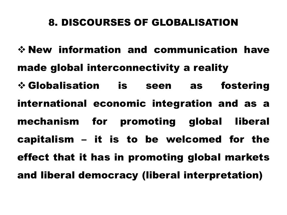 8. Discourses of globalisation