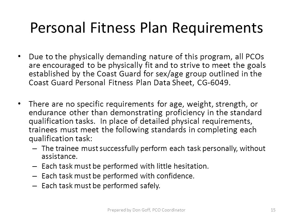 Personal Fitness Plan Requirements