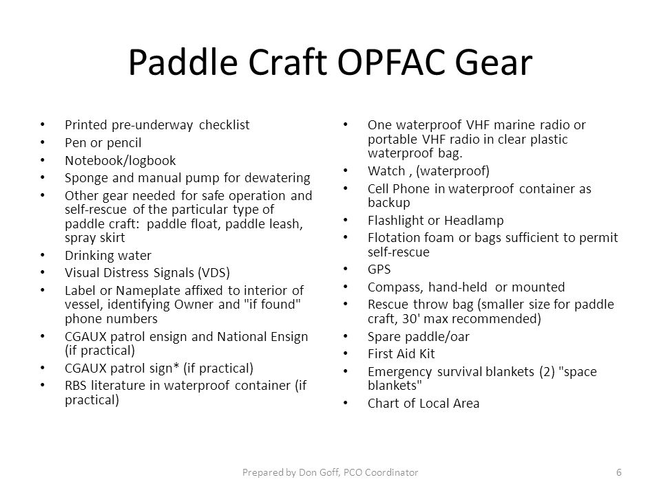 Paddle Craft OPFAC Gear