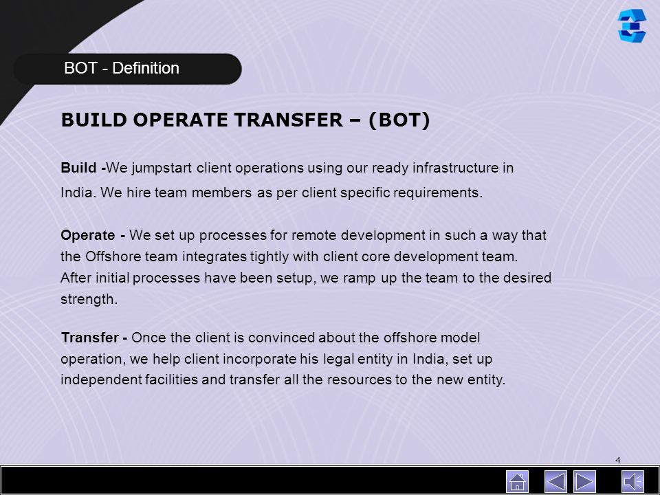 BUILD OPERATE TRANSFER – (BOT)