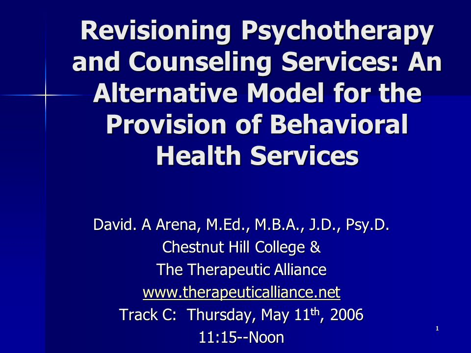 Revisioning Psychotherapy and Counseling Services: An Alternative Model for the Provision of Behavioral Health Services