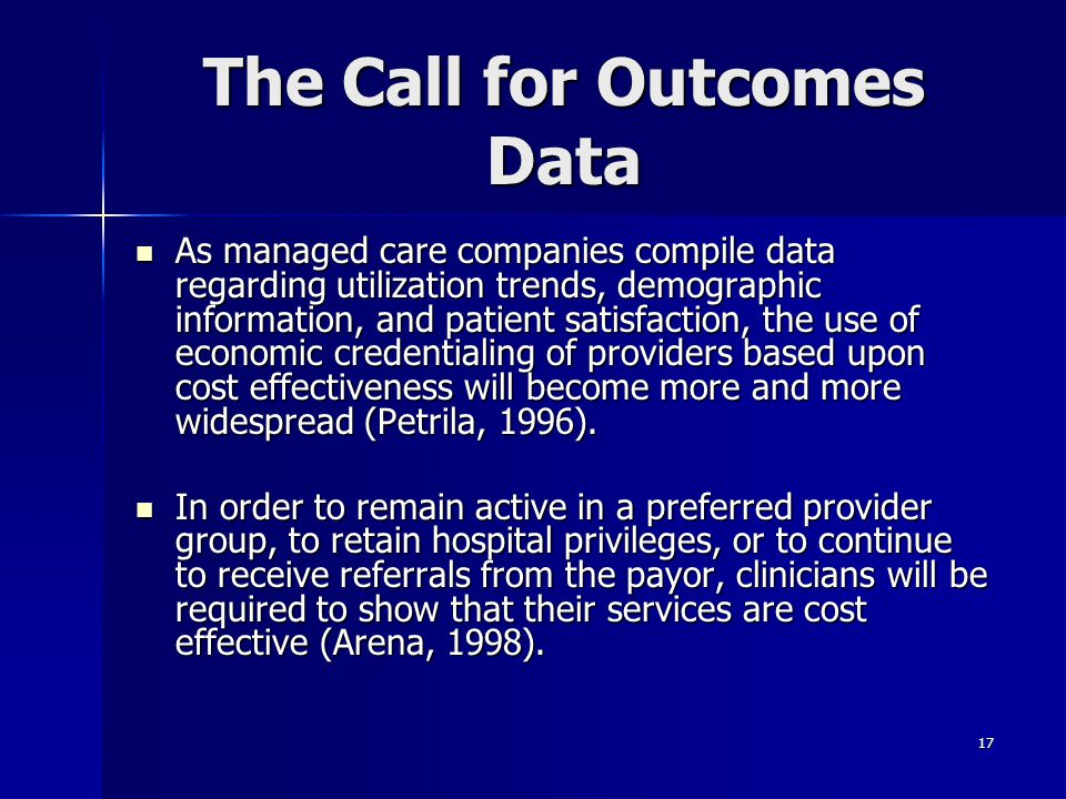 The Call for Outcomes Data