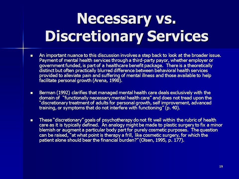 Necessary vs. Discretionary Services
