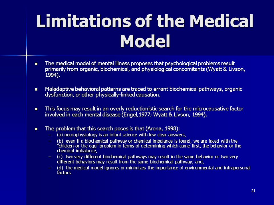 Limitations of the Medical Model