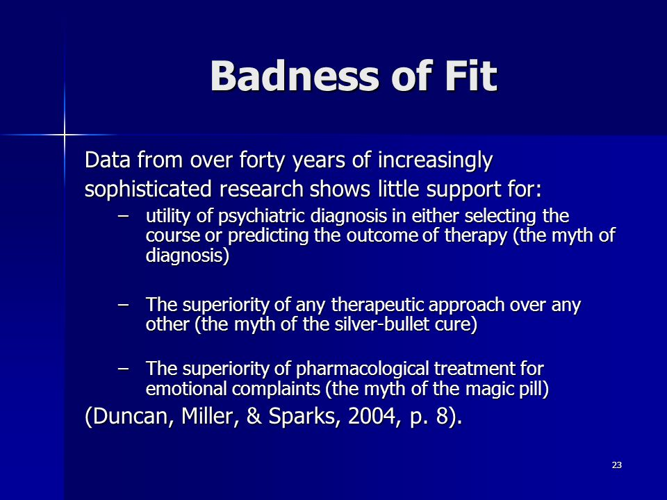 Badness of Fit Data from over forty years of increasingly