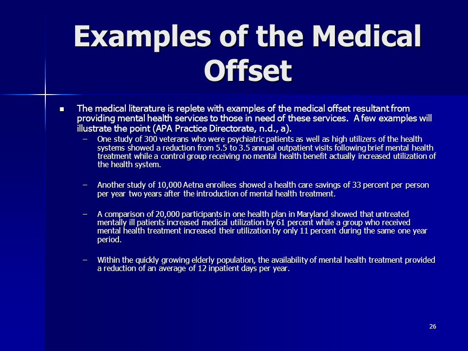 Examples of the Medical Offset