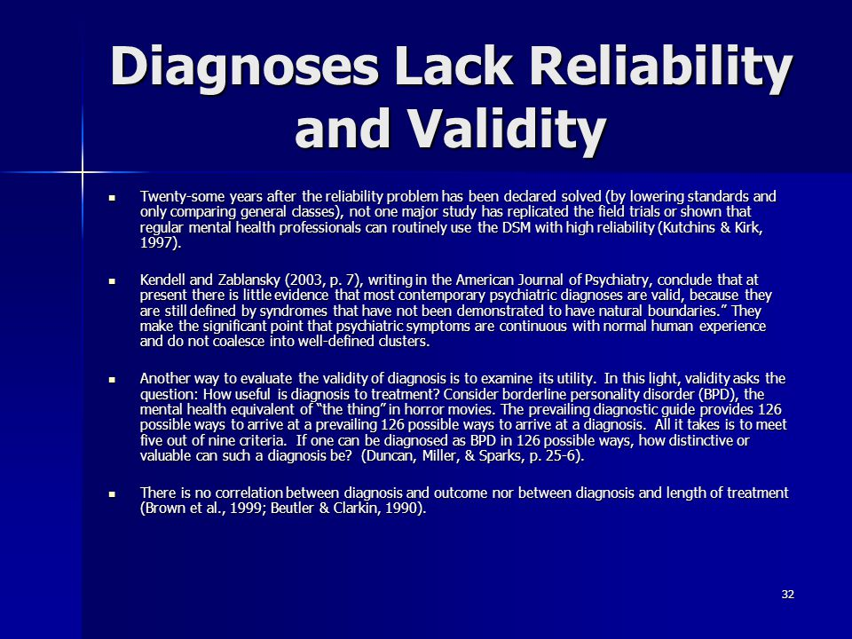 Diagnoses Lack Reliability and Validity