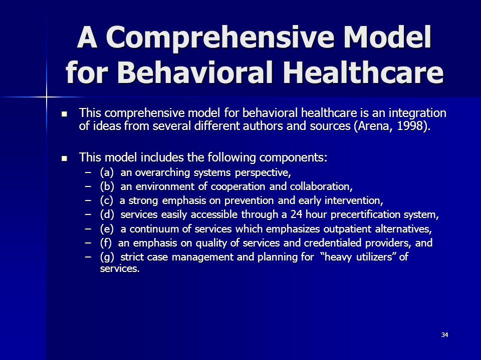 A Comprehensive Model for Behavioral Healthcare