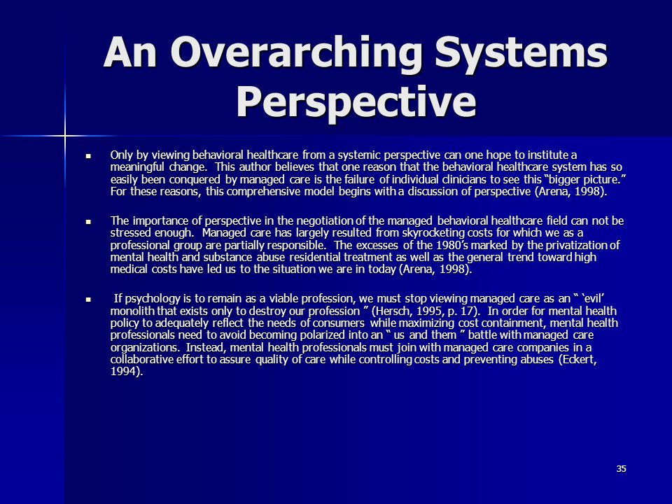 An Overarching Systems Perspective