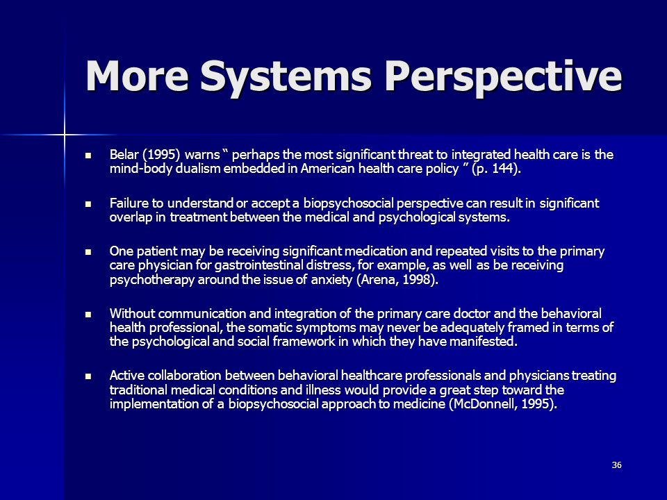 More Systems Perspective
