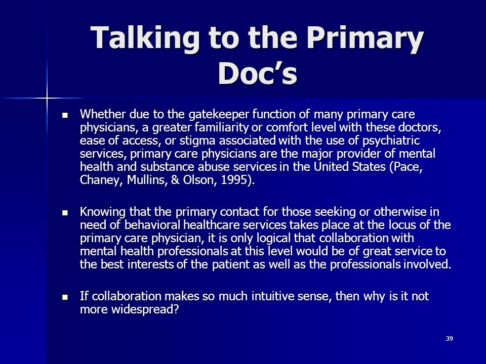 Talking to the Primary Doc's