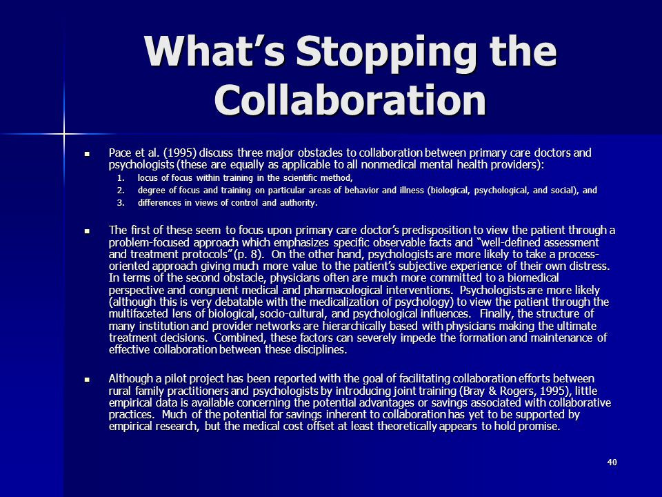 What's Stopping the Collaboration